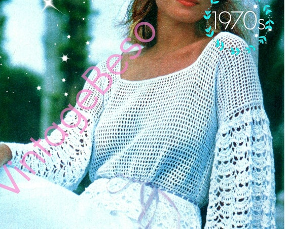Top Crochet Pattern •  Romantic 1970s Lacy Sleeved Top Crochet Pattern • Boho Clothing • Summer Sleeve Lace Instant Download PDF Pattern