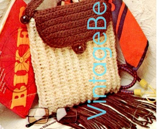 EASY BagS Crochet Pattern • 1970s Vintage Bag • Fringed Purse w Flap • Handbag • PDF • Retro Fun FREE Tote • Instant Download • Digital