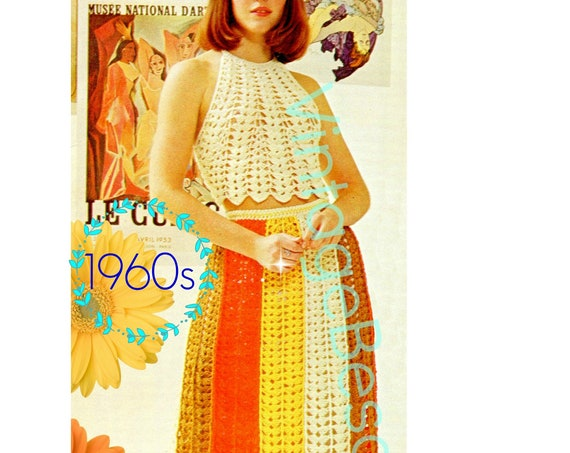 2 Crochet Patterns are TOP + SKIRT Crochet Pattern • 1960s and Vintage Sexy Halter • Worked in Super Fun Shell Stitch • Watermarked PDF Only