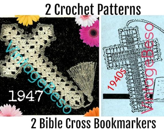 INSTANT DOWNlOAD • PdF Pattern • Bible Bookmark • 1940s Vintage Crochet PATTERN • Christmas • Crucifix • Jesus • Book Mark • Holiday • Cross