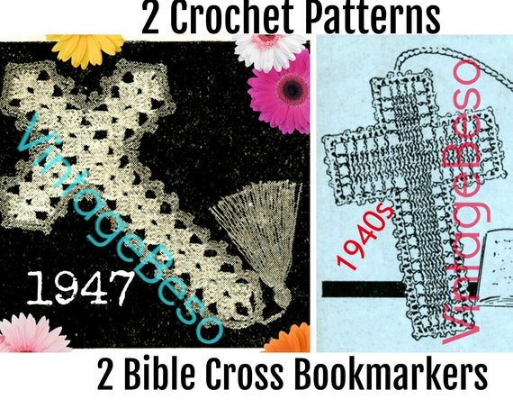 INSTANT DOWNLOAD 1940s Bible Bookmark Crochet Pattern Crucifix Crochet PATTERN Vintage Jesus Book Mark Reason for the Season PdF Pattern