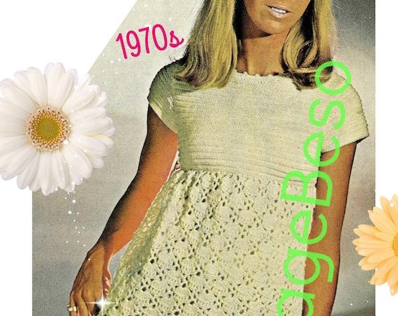 Dress Knit and Crochet Pattern • Vintage 70s • Ladies Summer Cap Sleeve Shell Dress • Mod Pattern • Boho Pattern