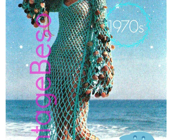 Dress Crochet Pattern • Beach Wedding Dress •  Vintage 1970s • Beach Cover Up Maxi Dress • Beachcomber Mesh Dress • Watermarked PDF Only