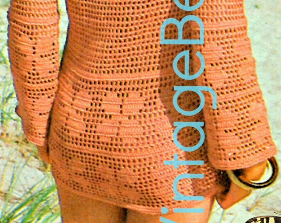 Retro Ladies Beach Jacket and Bikini Filet Cover Up 1970s Vintage Crochet Pattern INSTANT DOWNLOAD PdF Sexy Feminine Swimwear Swimsuit