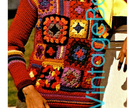Patchwork Sweater Crochet Pattern • Retro 1970s • Top Crochet Pattern • Pullover • Granny Square • Hippie • Puzzle • Watermarked PDF Only