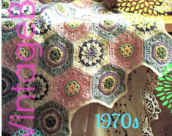 EASY Afghan Crochet PATTERN Vintage 70s Pastel Hexagon Afghan Throw octagon flowers afghan blanket Hippie Retro • Watermarked PDF Only