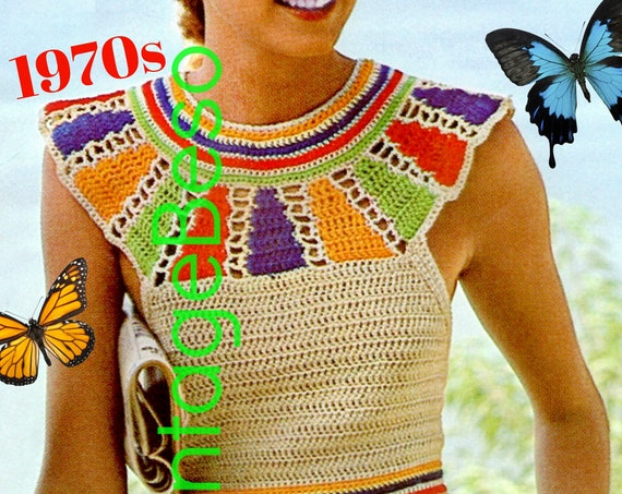 Instant Download • Sexy Egyptian Collar Halter Top Crochet Pattern • Retro Halter Pullover • Vintage 1970s Summer Top • Watermarked PDF Only