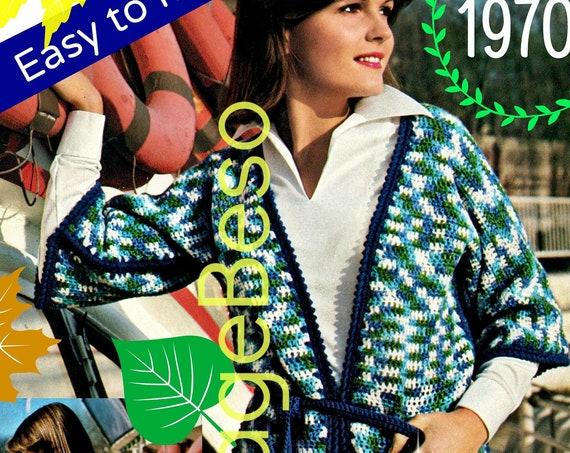 dcad6bf572 ... Jacket Crochet Pattern • 1970s Kimono Crochet Pattern • Easy to Make •  INSTANT Download •