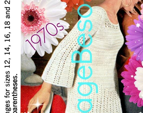 Dress CROCHET Pattern • Vintage 1970s Twist Bell Sleeve Dress Crochet Pattern Retro Ladies Summer Dress Pattern INSTANT Download Pdf Pattern