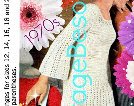 Dress CROCHET Pattern • Vintage 1970s Twist Bell Sleeve Dress Crochet Pattern Retro Ladies Summer Dress Pattern • Watermarked PDF Only