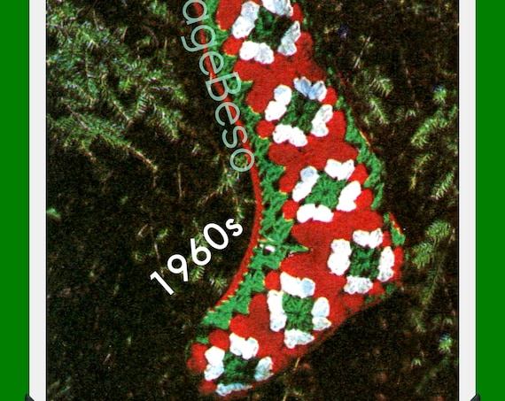 Instant Download • Easy Granny Square Stocking Crochet Pattern • 1960s Classic Christmas • Vintage Pattern • Watermarked PDF Only