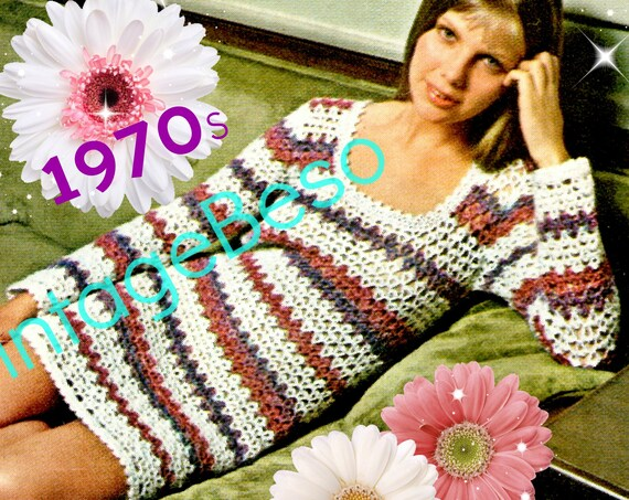 Ladies Dress Crochet Pattern • Vintage Beso • Vintage 1970s Quiet Elegance for home or out on the town LOVE • Watermarked PDF Only