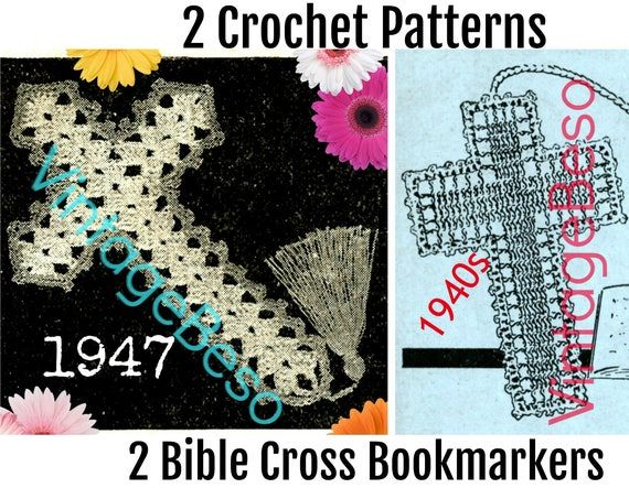 2 PATTERNs Crochet PATTERN Bible Bookmark Vintage Crucifix Jesus Book Mark Holiday Cross Bible Bookmarkers • Watermarked PDF Only