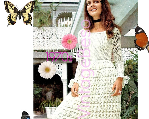 Boho Dress Pattern • Knitting Pattern + Crochet Pattern • 1970s Retro BOHO Maxi Dress Pattern Vintage • Watermarked PDF Only