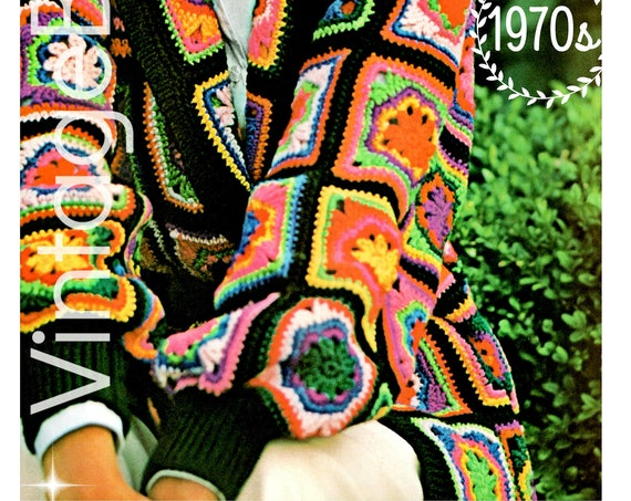 Gorgeous Jacket Crochet Pattern 1970s • Granny Square Flower Coat Chic Colorful Coat • Vintage Crochet Pattern • Watermarked PDF Only
