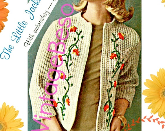 Vine Jacket KNITTING Pattern • 1960s Jacket • Vintage Little Jacket with or without Embroidery • Daisy Leaves Vines • Watermarked PDF Only