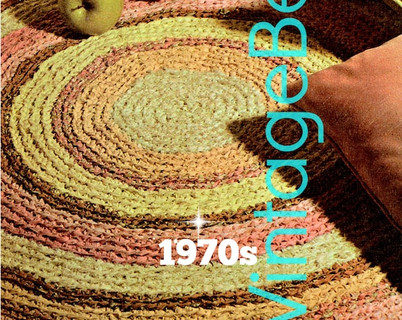 EASY Rug CROCHET Pattern • Vintage 1970s Fabric Rug • Area Kitchen Rug Home Decor Use Leftovers Vintage Beso • Watermarked PDF Only