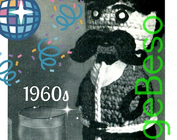 LIQUOR Bottle Cover CROCHET Pattern • 1960s Retro Hostess Party Gift from Mad Men Era • Moustache • gift Cigarette • Watermarked PDF Only