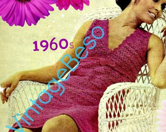 1960s Dress Crochet Pattern • Vintage Pattern • Sleeveless Dress • Summer Mini Dress • Retro • Tea Date Day Evening • Watermarked PDF Only