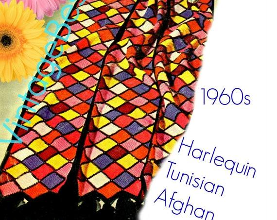 Harlequin TUNISIAN Afghan Crochet Pattern • Instant Download • Afghan Crochet Pattern • Vintage 1970s  Printable PdF Pattern