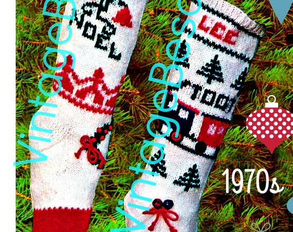 "Classic Christmas Knitting Pattern • STOCKING Pattern • Retro Christmas Stocking • ""Boy / Girl"" Stocking • PDF • 1970s Vintage • Embroidery"
