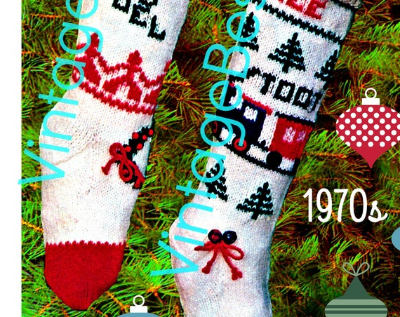 INSTANT DOWNlOAD • PdF Pattern • Stocking KNITTING CHRiSTMAS PATTERN Vintage 1960s Stockings for a Boy a Girl with Embroidery Holiday Season