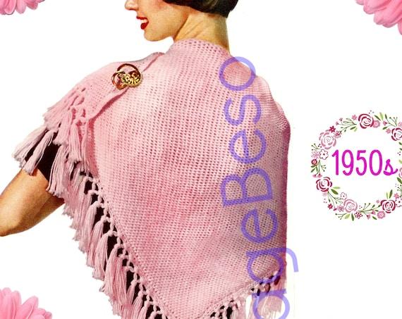 SHAWL Crochet Pattern • 1950s Crochet Pattern • Evensong • Digital Download • PDF Pattern • Ladies Feminine Wrap • Tunisian Afghan Stitch