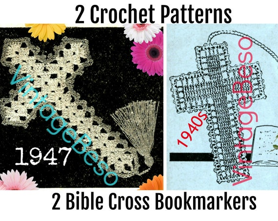 Crochet PATTERN • Bible Bookmark Vintage Crucifix Jesus Book Mark Holiday Cross Bible Bookmarkers Christmas • Instant Download • PDF Pattern