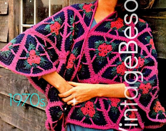 Shawl Crochet Pattern Digital Pattern Vintage 70s Triangle Shawl Flower Crochet Pattern Boho Granny Square Retro Wear Printable PDF Pattern