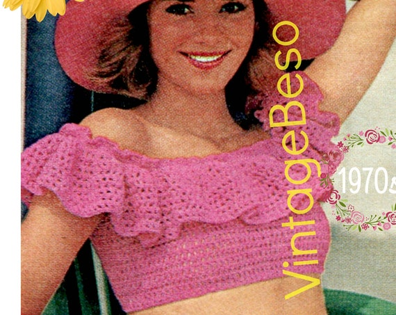 Top Crochet PATTERN • Off the Shoulder Pink Ruffle Crop Top • PDF • Vintage Sexy Top • Vintage 1970s Blouse Pattern • Boho Clothing