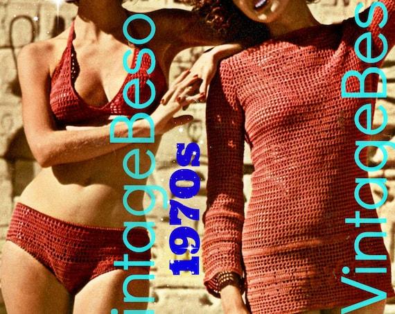 Bikini and Tunic • 1970s Vintage CROCHET PATTERN • Sexy Two Piece Swimwear plus Coverup • PdF Pattern • Vintage Ladies Swimsuit • Digital