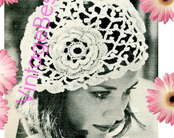 Cap Crochet Pattern Vintage 1970s Flapper Style 1920s Irish Rose Cap Cloche Roaring Twenties Hat Boho Wedding • Watermarked PDF Only