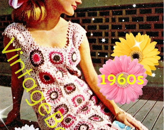Ladies Dress Crochet Pattern • Vintage 1960s Pink Motif Dress • Granny Square Dress • Sleeveless Summer Dress • Watermarked PDF Only