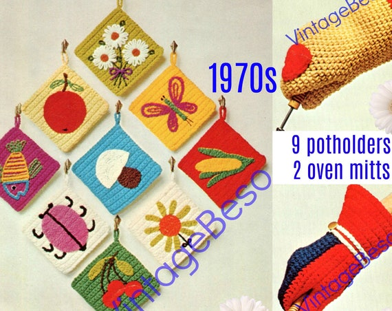 9 Potholders + 2 Oven Mitts Crochet PATTERN • 1970s Flowers Heart Butterfly Apple Fish Cherry Ladybug Mushroom Fish • Watermarked PDF Only