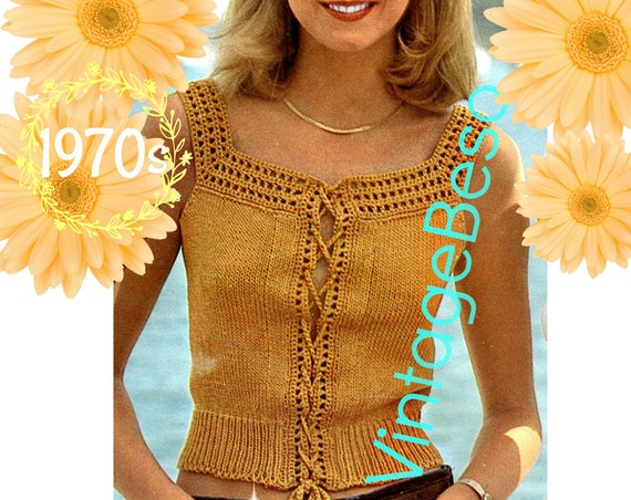 Sexy Top Pattern • Vintage Knitted Chic Camisole with Crocheted Trim • Knitting Pattern • Crochet Pattern • Watermarked PDF Only