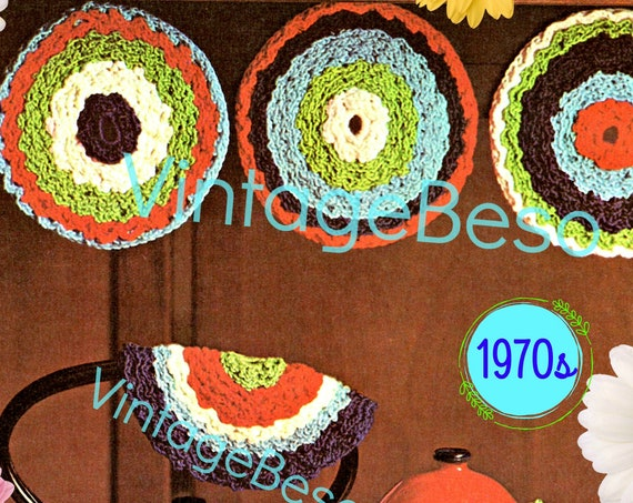 Spot On Potholder • Vintage 1970s Crochet Pattern • Colorful Potholder Crochet Pattern • Watermarked PDF Only