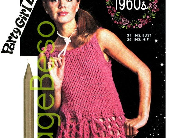 Speedy Dress Knitting Pattern • Vintage 1960s Dolly Dress Extreme Knitting Jumbo Knitting Needles • Club Summer Party • Watermarked PDF Only