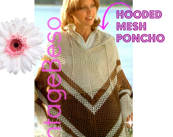 Hooded Poncho CROCHET Pattern • Long Mesh Feminine Poncho w Hood • Boho Lovely • Vintage 1970s • Cool Summer Evenings • Watermarked PDF Only
