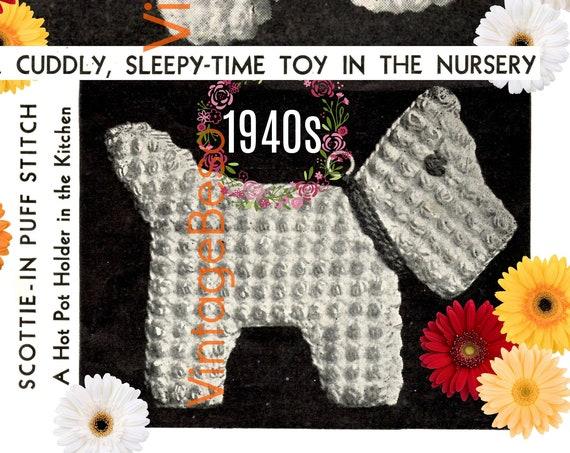 Scottish Dog Crochet Patterns • Vintage 1940s Crochet Potholder + Doll • Rosie the Riveter Era • Retro Pattern • Watermarked PDF Only
