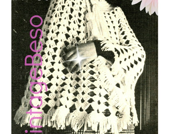 Ladies PONCHO Crochet PATTERN • Vintage 1970s Shawl Pattern • Boho Jumbo Tassels • Bohemian Clothing • Watermarked PDF Only