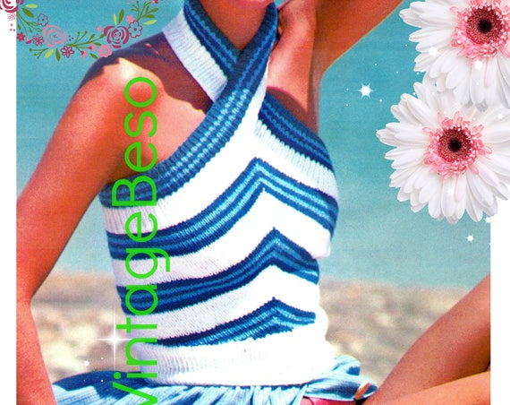 Halter Top KNITTING Pattern • Vintage 1970s • Criss Cross Stripe Summer Top • Sleeveless • Backless Summer • Watermarked PDF Only