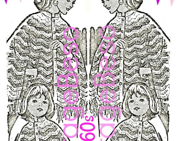 2 Cape Crochet Pattern • Vintage 1960s Cute Mail Order • Mother Daughter CROCHET CAPE • Mommy and Me Coat • Watermarked PDF Only