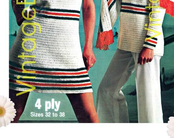 Patriotic Dress CROCHET Pattern • Vintage 1970s Dress Pattern • Retro Ladies Striped Sleeveless Dress + Tunic + Scarf + Cap • Instant PDF