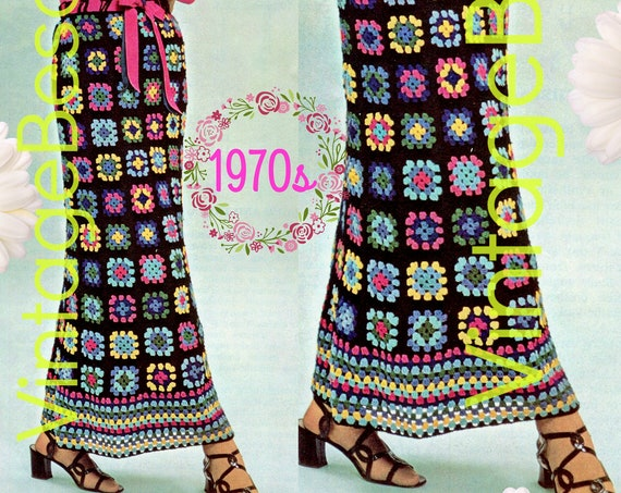 SKIRT Crochet Pattern • 1970s Hostess Skirt Millefleurs Skirt • Vintage Crochet Pattern • Granny Square Long Skirt • Watermarked PDF Only