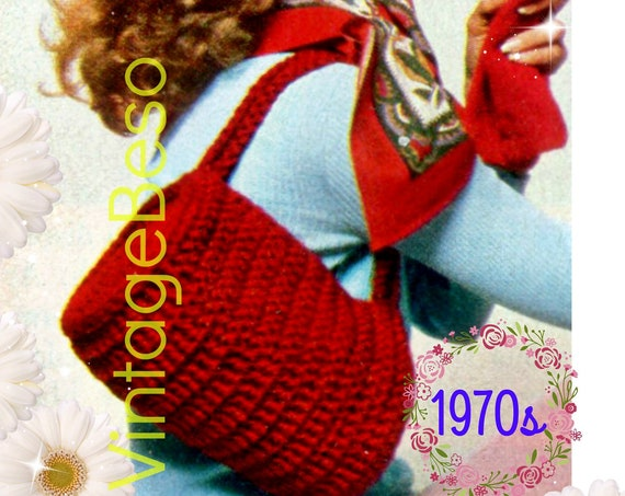 EASY Bag Crochet Pattern • 1970s Vintage Bag • Classic Bag with Strap and Zipper • Handbag • Retro Fun Tote • Watermarked PDF Only