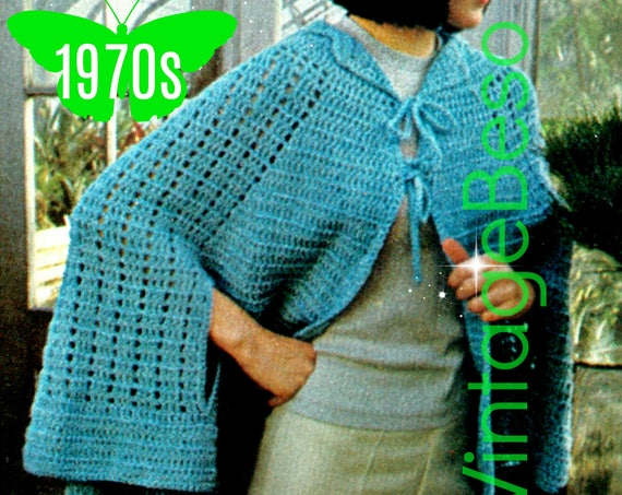 CAPE Crochet PATTERN • Ladies Aqua Cape • 1970s Light Wrap Crochet Cape with Arm Slits and Closure Ties • Watermarked PDF Only