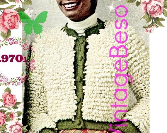 PDF Pattern • Looped Jacket Crochet Pattern • Vintage 1970s Ladies Short Chubby • Fun Teddy Bear Coat • Sweater • Cardigan • Retro Fake Fur