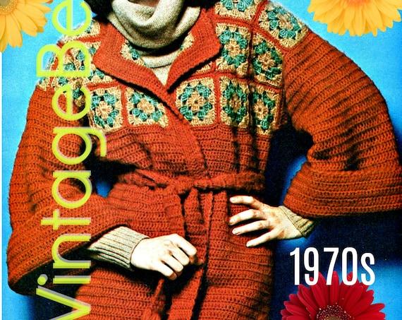 Kimono Crochet Pattern • Retro 1970s • Vintage Coat Crochet Pattern • Granny Squares Jacket • Vintage Wrap • INSTANT DOWNlOAD • PdF Pattern