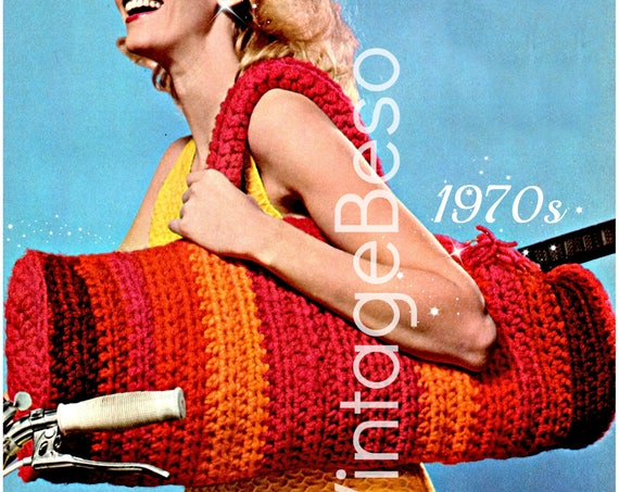 EASY Bag Crochet Pattern Vintage 1970s Striped Hold All Bag Yoga Boho Trip Travel Weekend Getaway • Watermarked PDF Only
