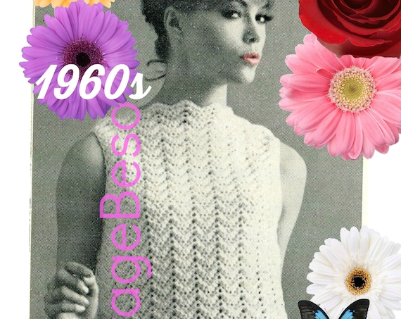 Easy Top CROCHET Pattern • Another Ripple Shell • 1960s Crochet Pattern • Digital • Zigzag Chevron Top • Watermarked PDF Only